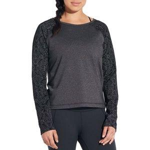 CALIA by Carrie Underwood Velvet Pieced Sweatshirt